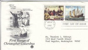 1992, 1st Voyage of Columbus-Seeking Support, Crossing, PCS, FDC (D15368)
