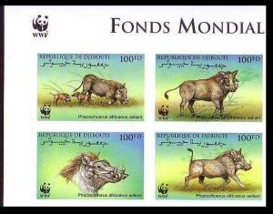 Djibouti WWF Eritrean Warthog 4 imperforated stamps in block 2*2 SG#1192-1195
