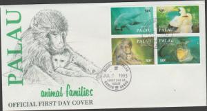 O) 1993 PALAU, ANIMALS FAMILIES, FDC XF