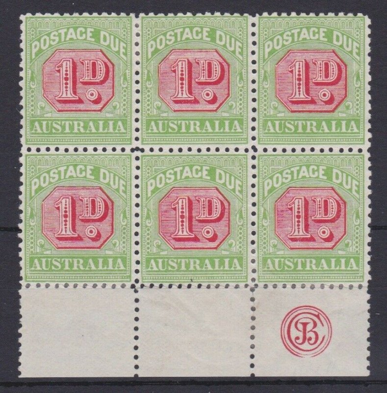 APD450) Australia 1913-21 Crown over dbl. lined A thin paper 1d Rose-red & green