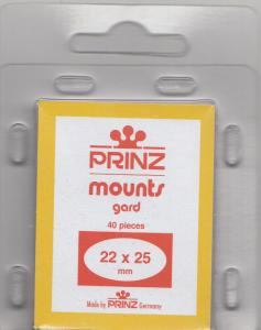 PRINZ CLEAR MOUNTS 22X25 (40) RETAIL PRICE $3.99