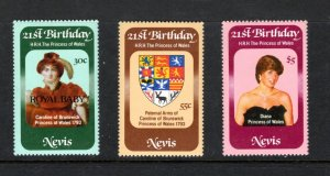 NEVIS 151-3MNH VF  21st Birthdays