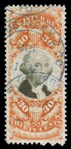 B519 U.S. Revenue Scott R140 3rd issue 30c orange & black, 3 large margins