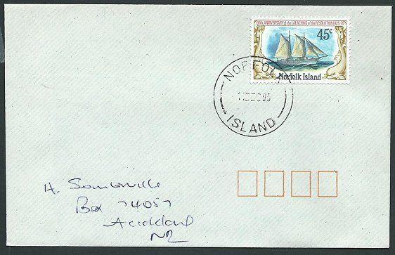 NORFOLK IS 1995 cover to New Zealand - 45c Resolution......................42817