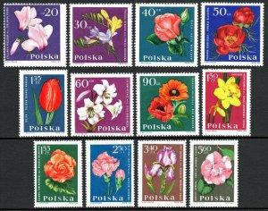 Poland 1279-1290, MNH. Garden Flowers. Cyclamen,Freesia,Rose,Peony,Tulip, 1964