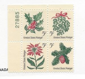 United States, 1254-57a, 5c Christmas Tagged Plate Block of 4 #27885 UL, MNH