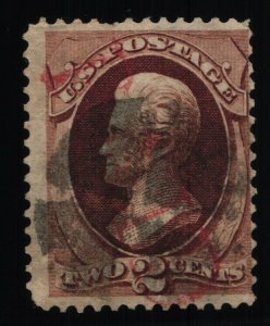 Scott #146 VF - Jackson - 2c Red Brown - Used Red & Paid Cancel - Tear - 1870