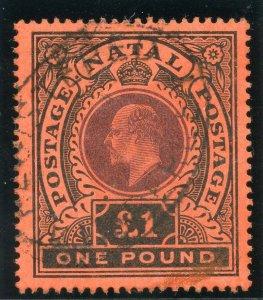 Natal 1908 KEVII £1 purple & black/red very fine used. SG 171. Sc 116.