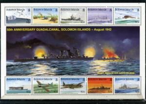 SOLOMON ISLANDS 1992 Sc#728 MILITARY SHIPS AND AVIATION SHEET OF 10 STAMPS MNH