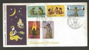 1961 Surinam Jamborette Girl Scouts camp fire FDC