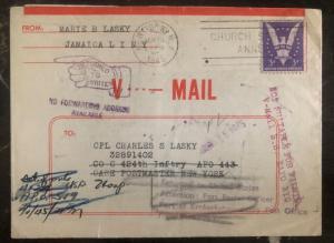 1945 New York Usa V Mail Letter Returned Cover Victory Stamp