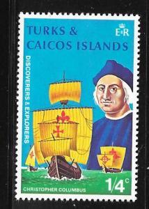 Turks and Caicos 253: 1/4c Columbus, Nina, Pinta and Santa Maria, MH, F-VF