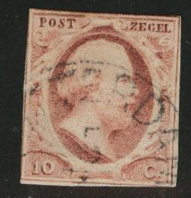 Netherlands Scott 2 nice cancel 1852  stamp  CV$24