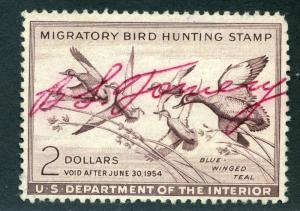 RW20 1953 US Department of the Interior - Blue Winged Teal - $2 Used Duck Huntin
