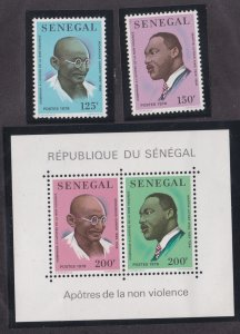 Senegal # 487-488 & 489, Mahatma Gandhi & Martin Luther King, NH, 1/2 Cat.