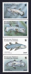 Comoro Is. WWF Coelacanth Strip of 4v SC#833 a-d MI#1261-1264