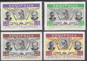 Albania MNH Set of 4 stamps - Roosevelt & Churchill.  Shqiperia. Scenery
