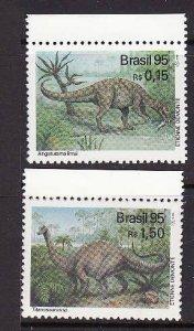 Brazil-Sc#2543-4-unused NH set-Dinosaurs-1995-