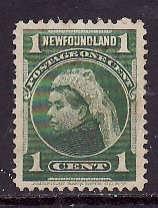 Newfoundland-Sc#80-used 1c yellow green QV-1898-id#15 -