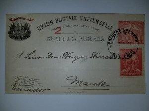 J) 1904 PERU, POSTCARD, POSTAL STATIONARY, UPU, POST AND TELEGRAPH BUILDING LIMA