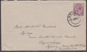 SOUTH AFRICA 1921 GV 2d on cover to Australia - KNYSNA cds...................733