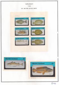 SCOTLAND - GRUNAY - 1982 - Fish #1 - Perf 6v, Souv, De Luxe Sheets - MLH