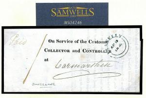 GB WALES Llanelly OFFICIAL EL Customs *SMUGGLING* 1846 BRANDY SEIZURES MS4246