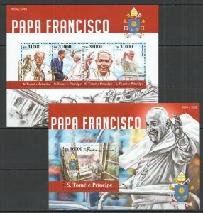 ST1529 2015 S. TOME & PRINCIPE GREAT HUMANISTS TRIBUTE TO POPE FRANCIS KB+BL MNH