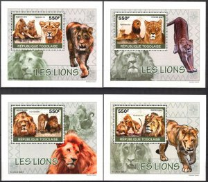 {080} Togo 2010 Lions 4 S/S Deluxe MNH**