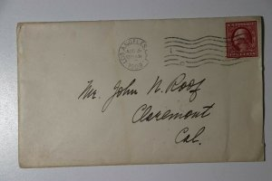 US Sc#332a Used On Cover 1909 Nicely Centered 4 Margins VF Claremont CA