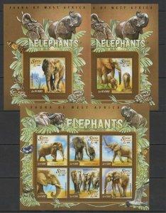 ST586 2015 SIERRA LEONE ANIMALS FAUNA WILD ELEPHANT 1KB+2BL MNH STAMPS