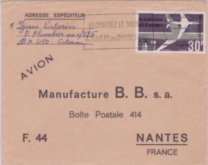 Dahomey 30F Air Afrique 1966 Cotonou, Dahomey Airmail to Nantes, France. EURO...