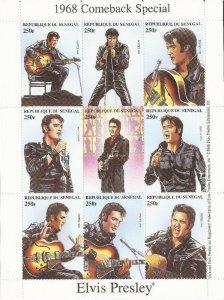Senegal 1999 Elvis Presley Comeback Special 9 Stamp Sheet Scott #1350 19F-011