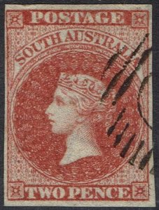 SOUTH AUSTRALIA 1855 QV 2D IMPERF USED LONDON PRINTING