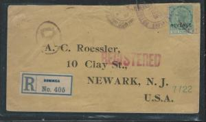 DOMINICA (P1101B) QV REVENUE SURCHARGE ON REG COVER 1912 TO USA.  UNUSUAL