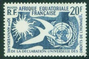 French Equatorial Africa AEF  Scott 202 MNH** 20 Franc 1958 Human Rights