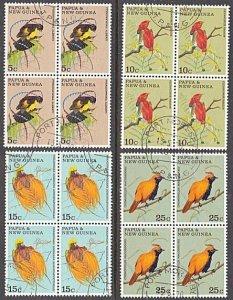 PAPUA NEW GUINEA 1970 Birds set blocks of 4 fine used.......................A158