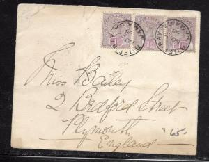 JAMAICA (PP1301B) 1898 QV 1D STRIP OF 3 COVER TO ENGLAND
