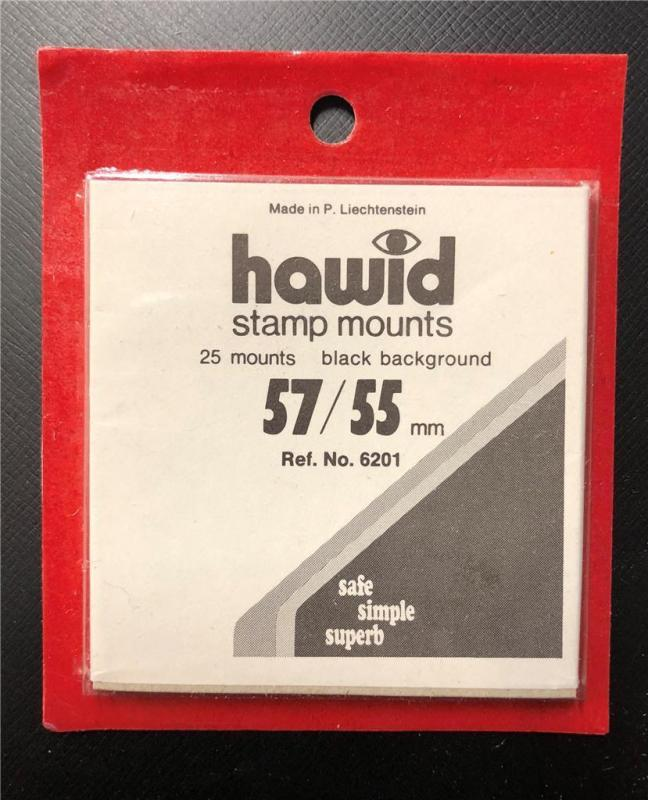 Stamp Mounts Supplies Hawid New 25 mounts 57mm by 55mm Black back Precut