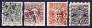 INDIA (COCHIN) — SG O54//O56b  — 1942-43 UNISSUED OVPT TYPE O10 — USED — SCV £32