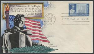 #978 ON KNAPP FDC ABRAHAM LINCOLN HAND PAINTED CACHET NOV 19,1948 HW1020