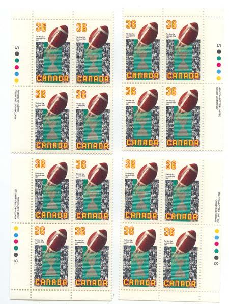 Canada - USC #1154 1987 Football & Grey Cup Mint Imprint Blocks VF-NH Cat. $15.
