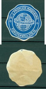 Germany. Seal Embossed 1960s. Frohlich Magdenburg Die Welt Mein Feld. Globe.