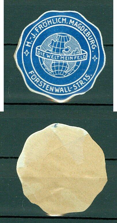 Germany. Seal Embossed 1960s. Frohlich Magdenburg Die Welt Mein Feld. Globe.