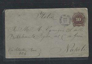 ECUADOR  COVER (P2709B) 1898 10C  PSE IBARRA TO ITALY,  B/S