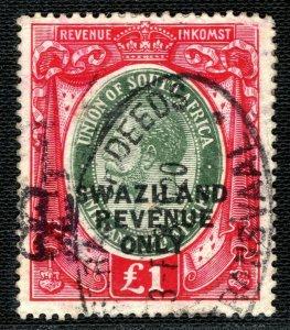 SWAZILAND KGV Revenue Stamp Overprint £1 High Value (1922) Used Bft.85 2WHITE45