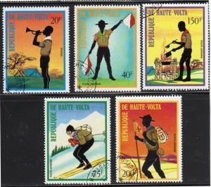 BURKINA FASO #296, C160-C163  1973  SCOUTING       MINT  VF LH  O.G CTO