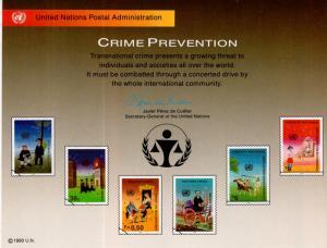UN SC38 Crime Prevention Souvenir Card Mint