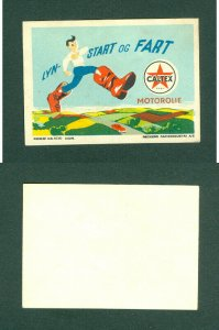 Denmark. Poster Stamp.  CALTEX. Motor Oil.  Ready,Start,Speed.Man,Boots.