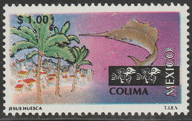 MEXICO 1960, $1.00 Tourism Colima, resort, fishing. Mint, Never Hinged F-VF.